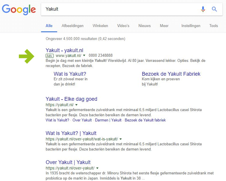 Wat is SEA blog - Advertentie op google van Yakult