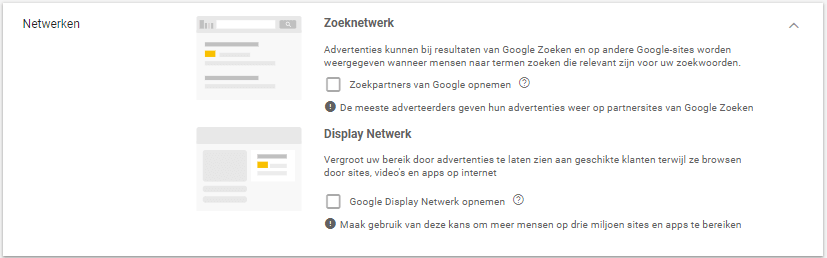 AdWords netwerkinstellingen beheren
