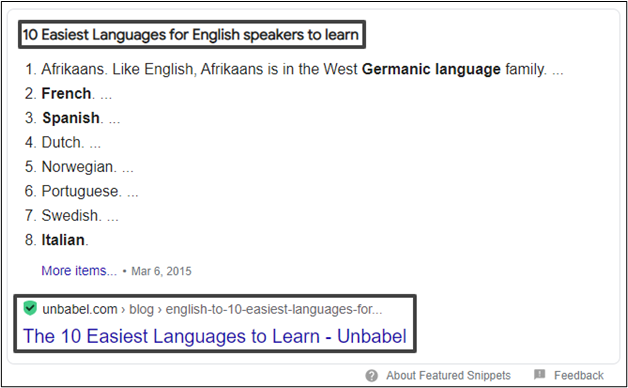 featured snippet in beeld