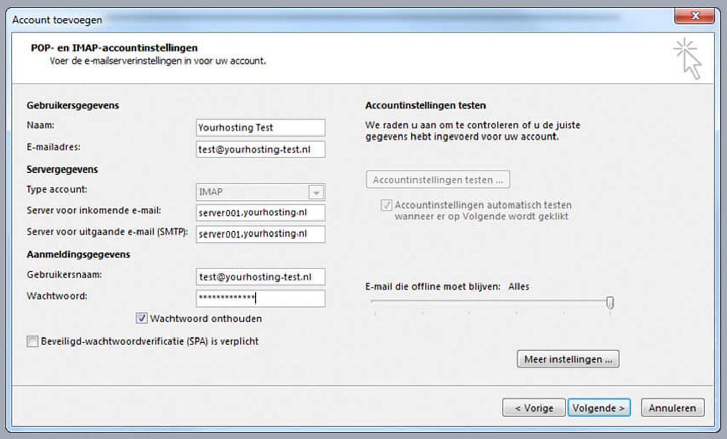 IMAP-instellingen Plesk Mail Outlook 2013