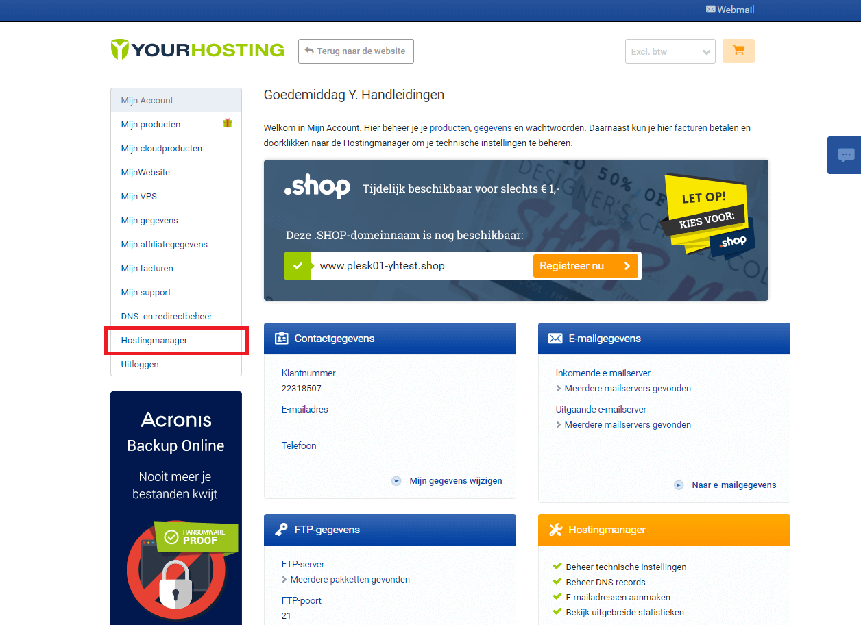 Klik op Hostingmanager in het menu