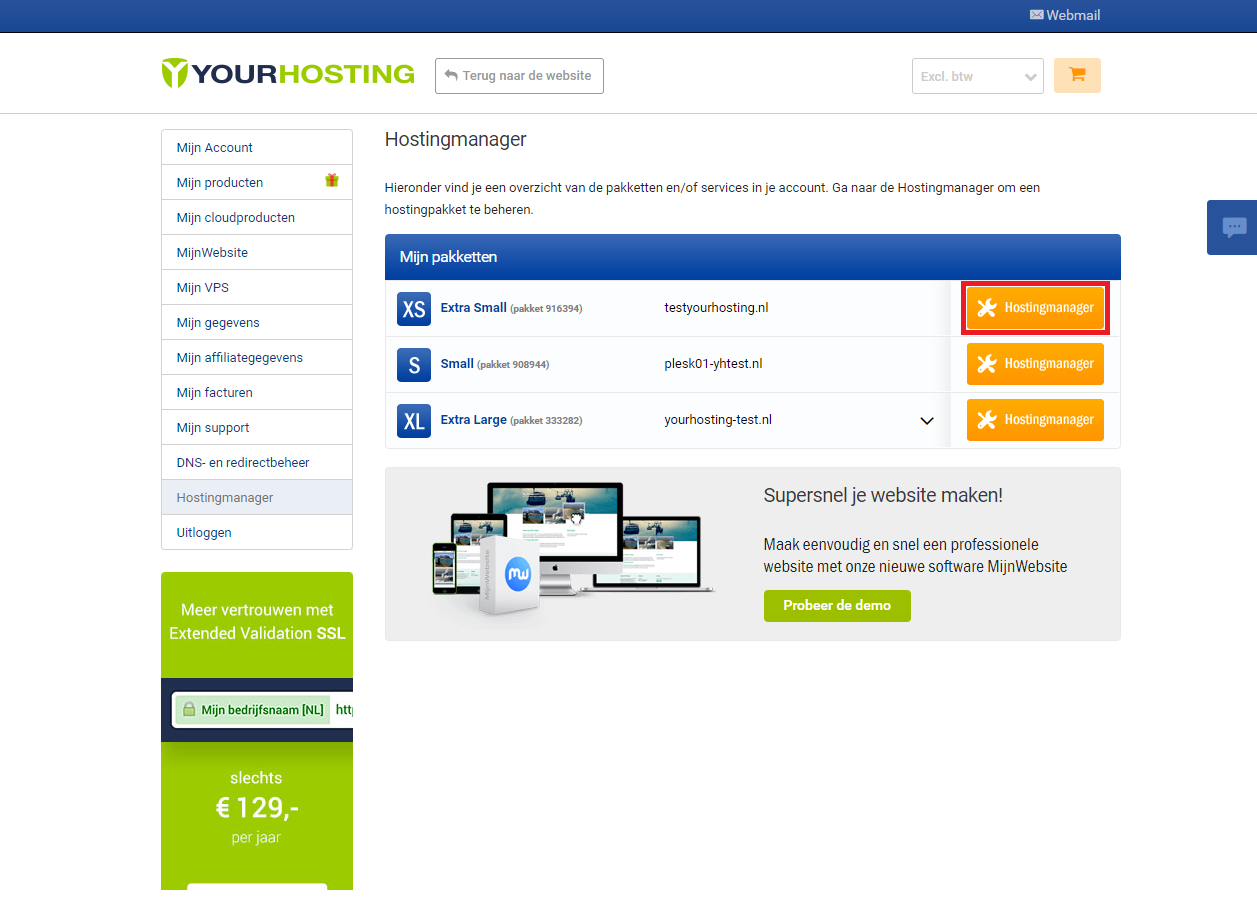 Open de Hostingmanager.