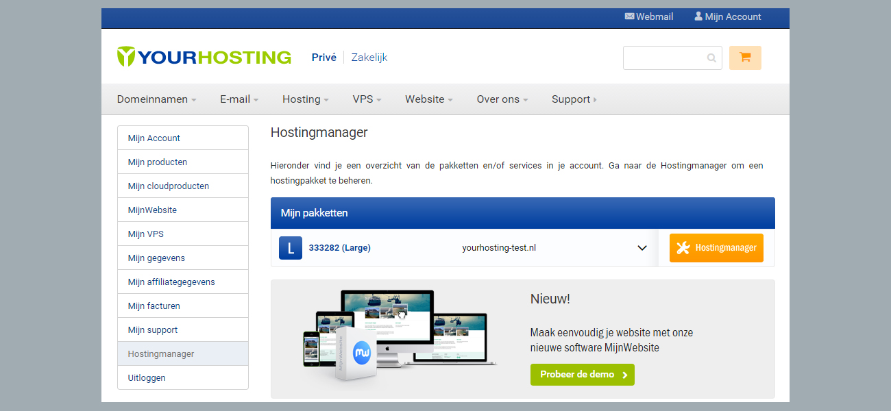 e-mail aanmaken hostingmanager