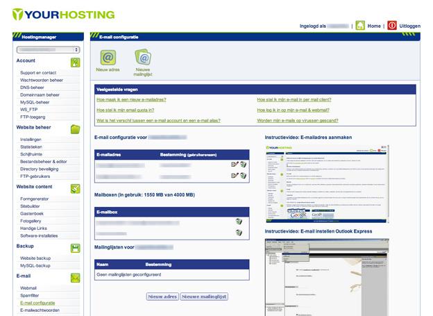 e-mail configuratie hostingmanager