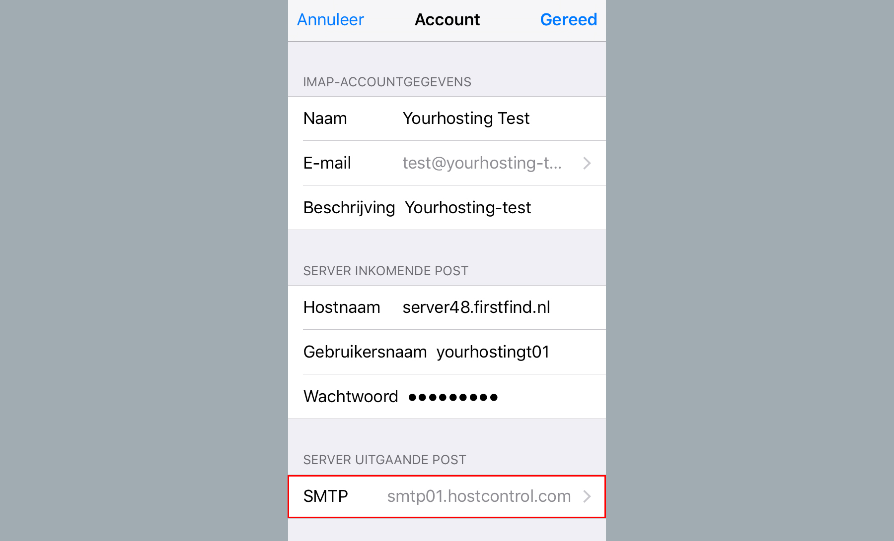 server uitgaande post smtp iphone ios9