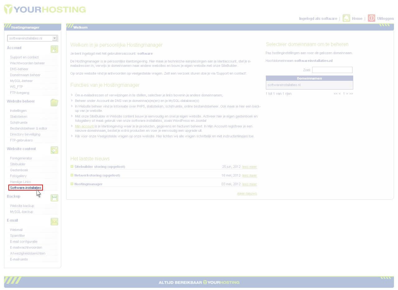 hostingmanager softwareinstallaties