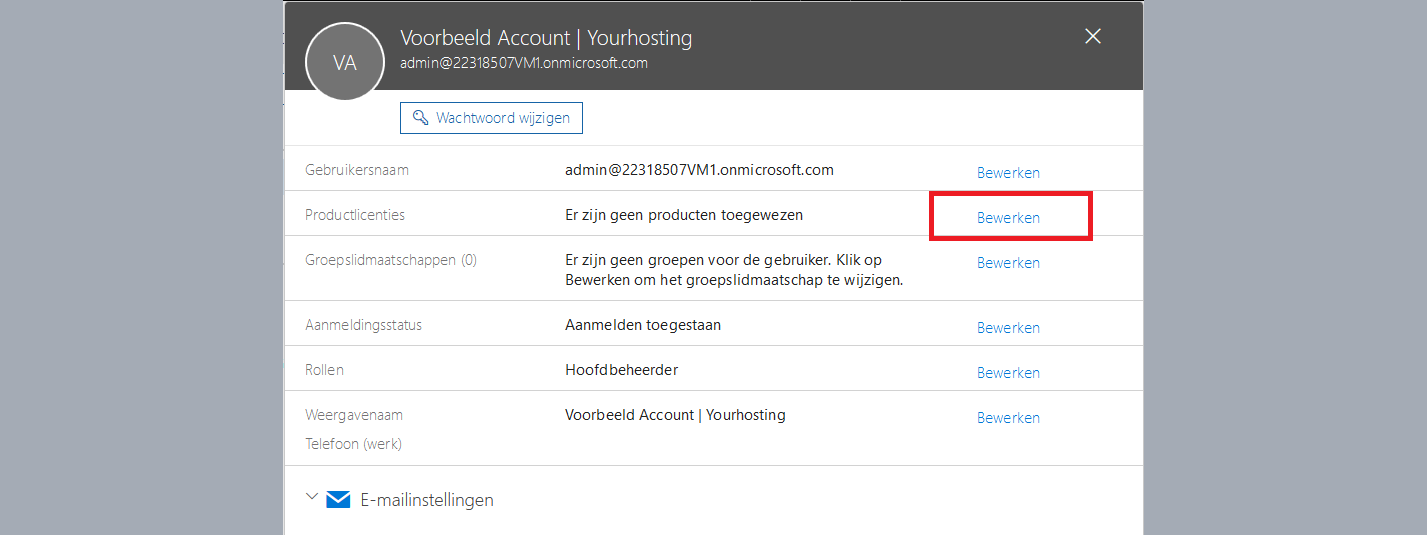 office 365 productlicenties bewerken