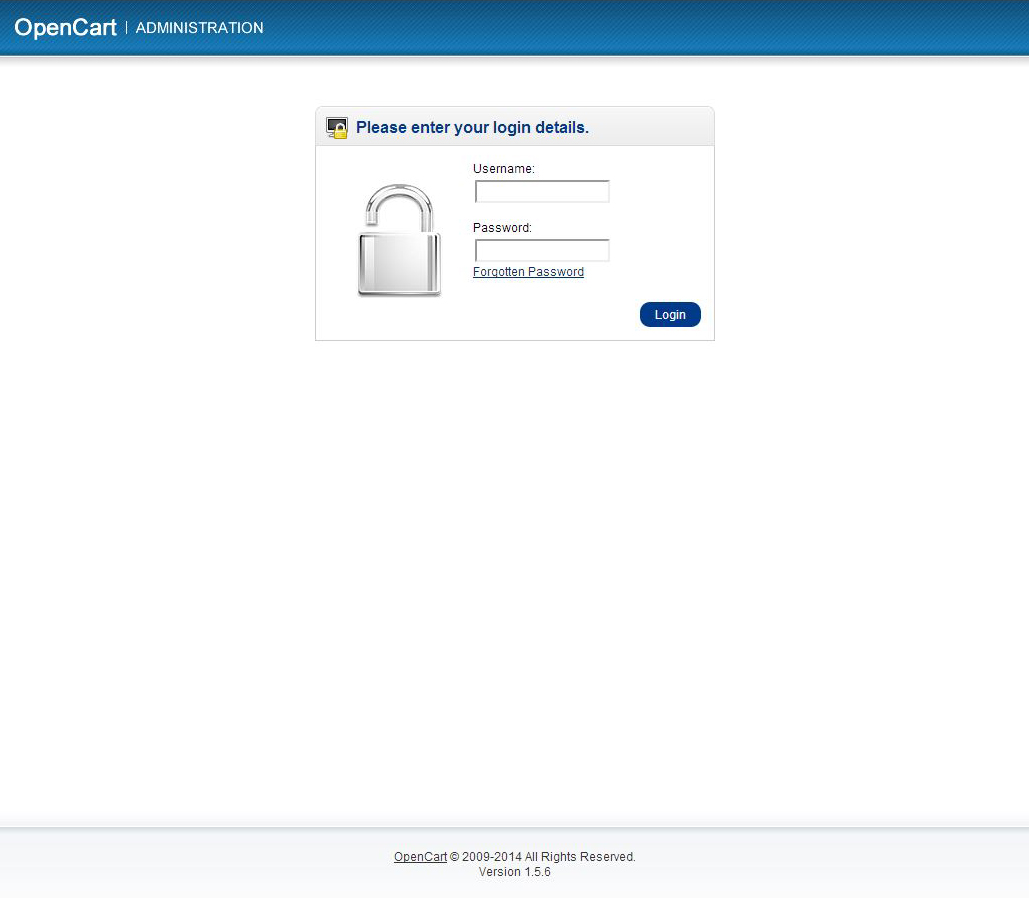 login opencart website