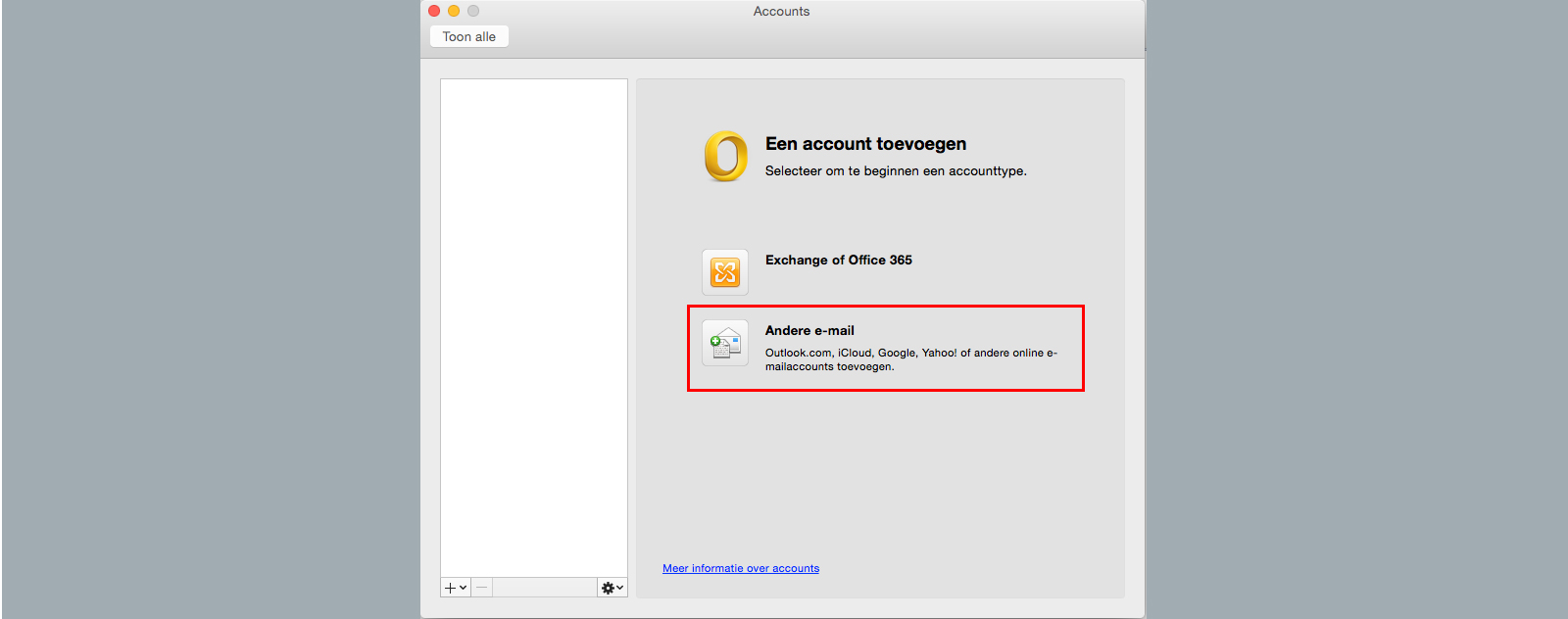 account toevoegen outlook 2011 for mac andere e-mail