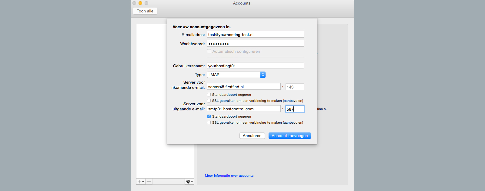 outlook 2011 for mac server uitgaande e-mail accountgegevens