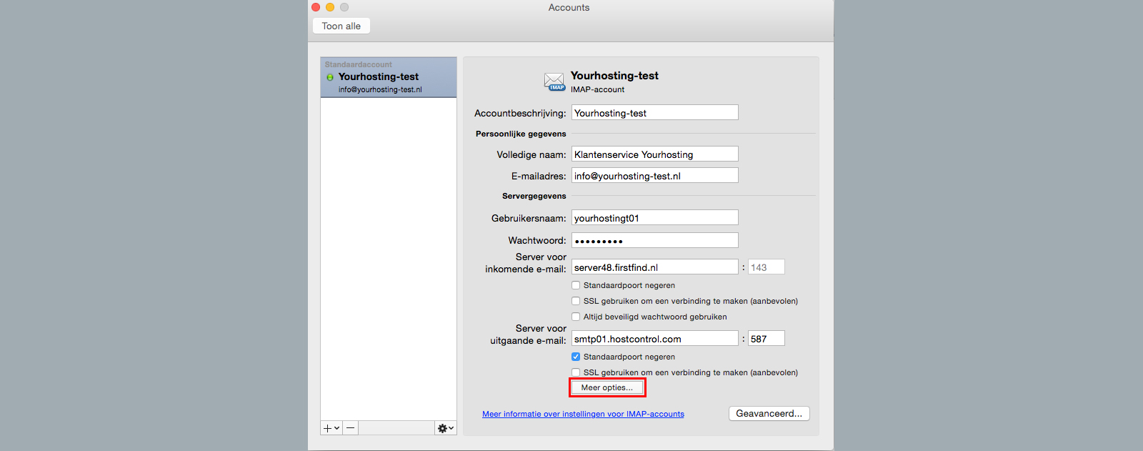 accounts meer opties outlook 2011 for mac