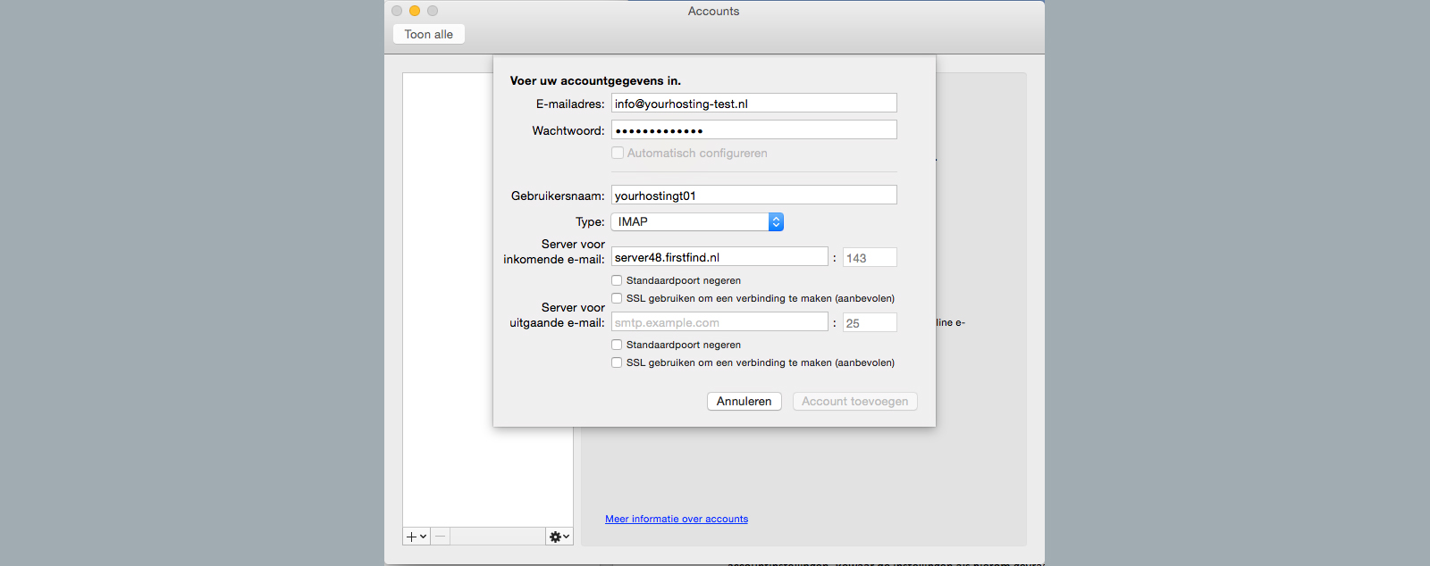 voer accountgegevens in outlook 2011 for mac
