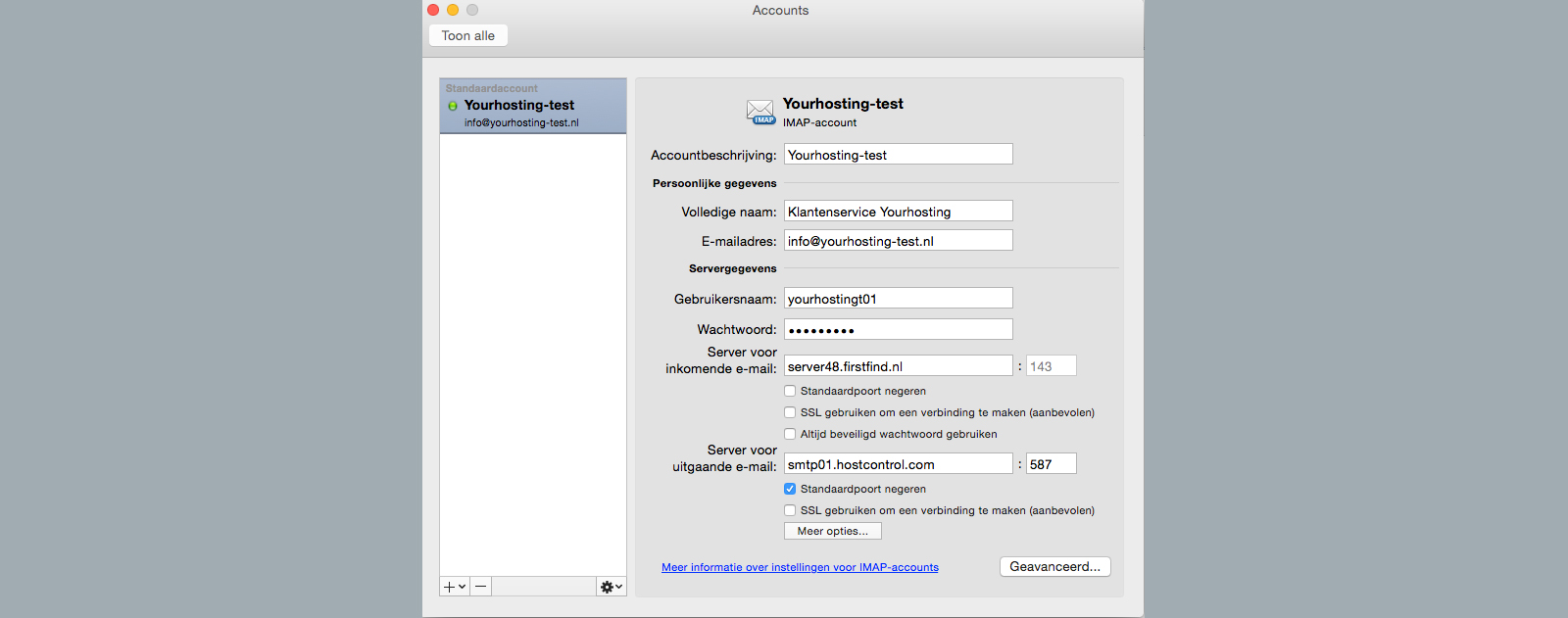 outlook 2011 for mac accounts scherm