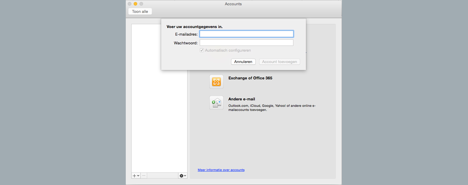 voer accountgegevens in outlook 2011 for mac e-mailadres wachtwoord