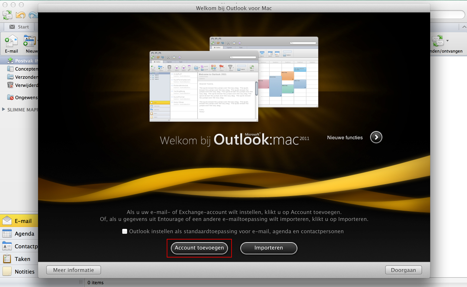 welkom bij outlook 2011 for mac account toevoegen importeren