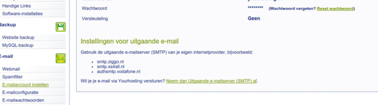 geen uitgaande e-mail server hostingmanager