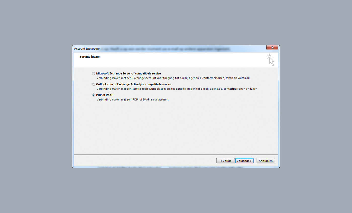 service kiezen pop imap outlook 2013