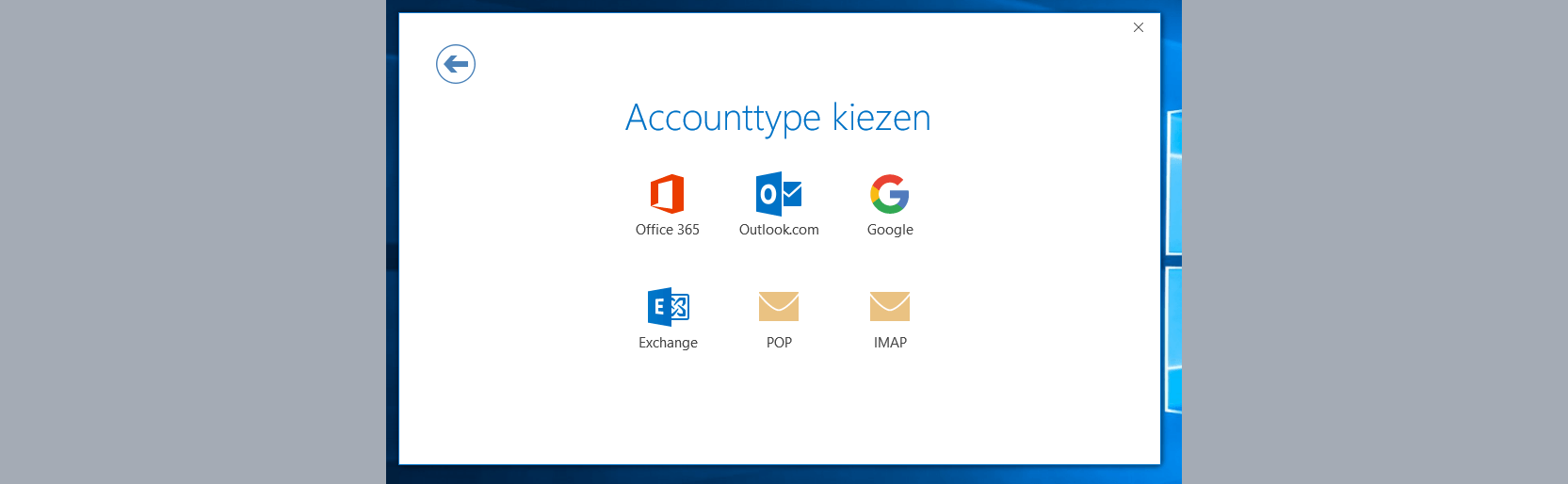 outlook 2016 accounttype kiezen
