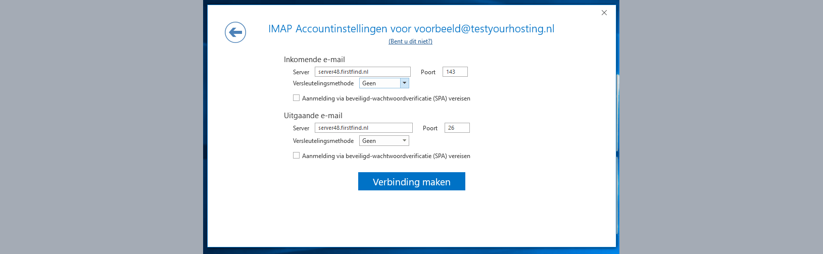 imap accountinstellingen outlook 2016