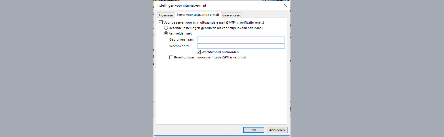 outlook 2016 server uitgaande email smtp