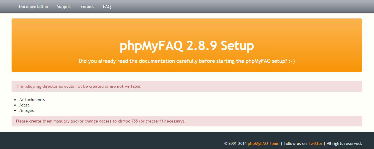 directories not created phpmyfaq