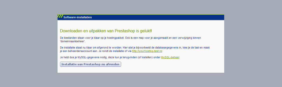 downloaden van prestashop is gelukt