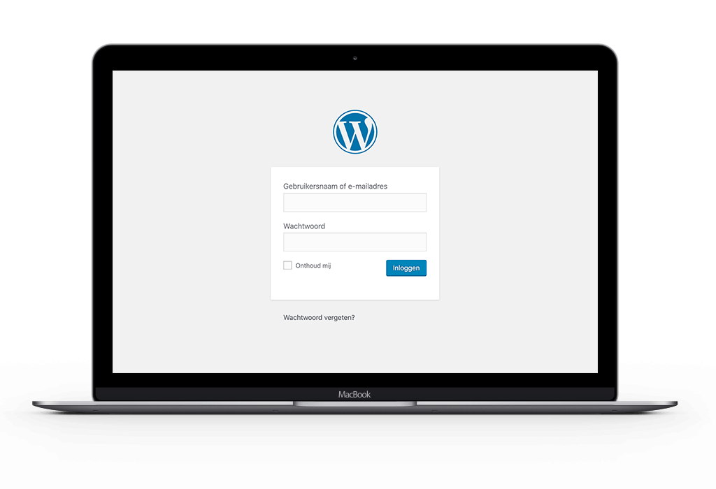 Screenshot van WordPress inlogvenster