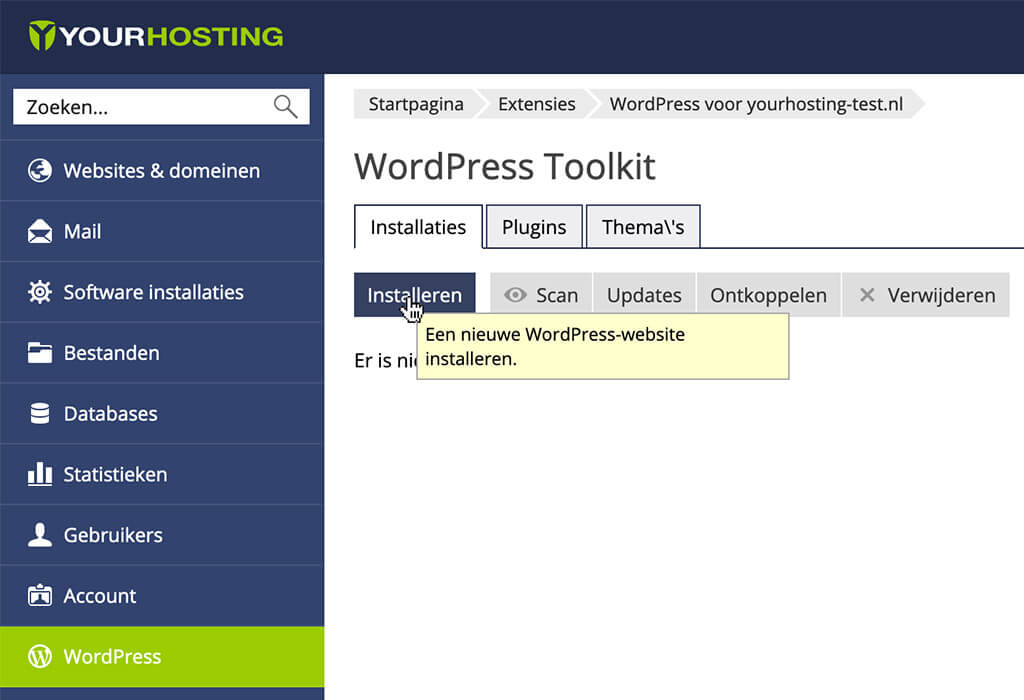 WordPress installeren in de Hostingmanager via de WordPress toolkit