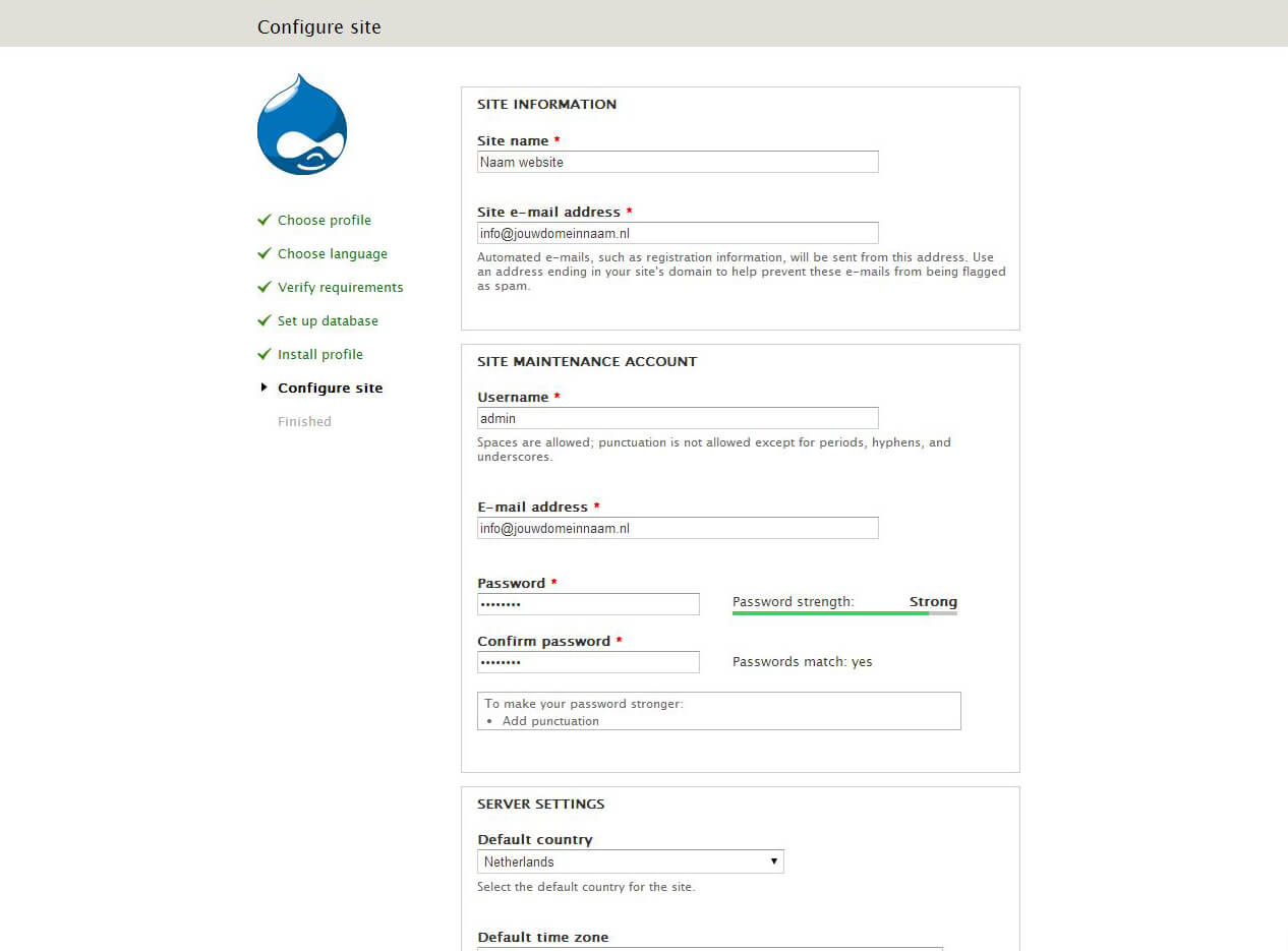 Drupal installeren screenshot