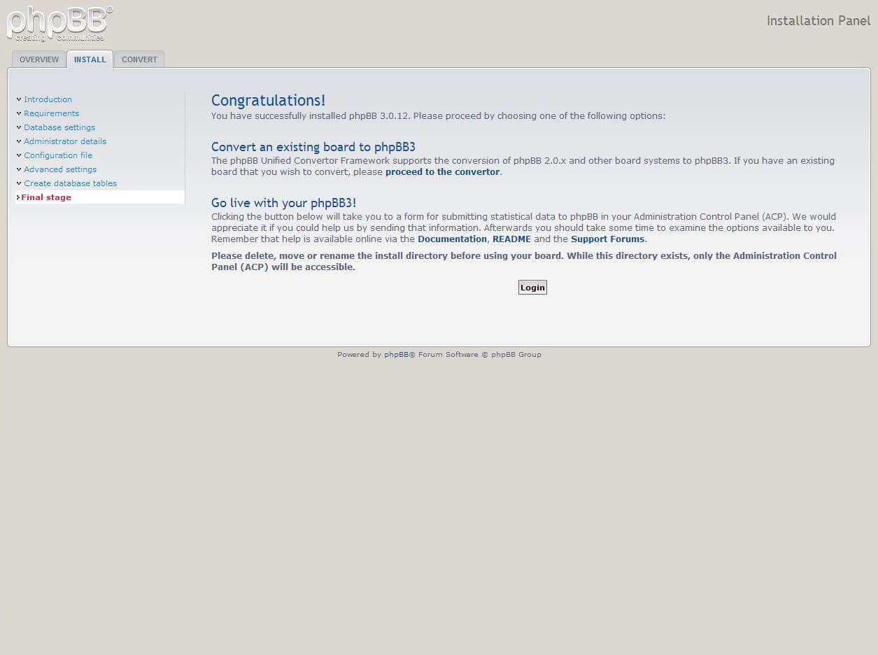 phpBB installeren screenshot
