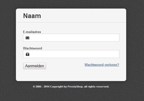 PrestaShop installeren screenshot